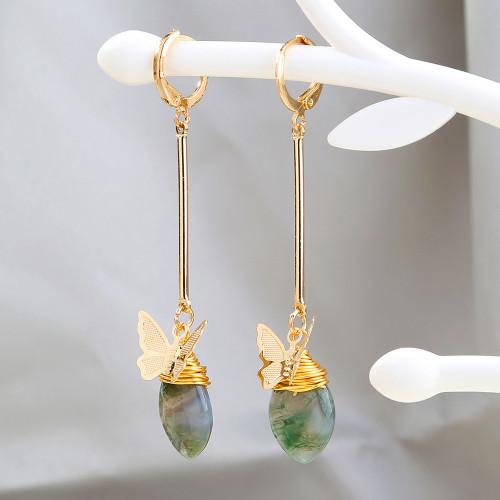 Retro Natural Stone Tassel Earrings