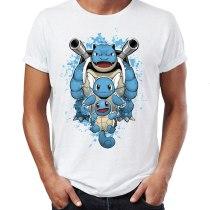 Hot Men's t-shirt Water Type Pokemon Wartortle Blastoise Squirtle Watercolor Artsy Awesome Artwork Printed Tshirt  Tees Tops