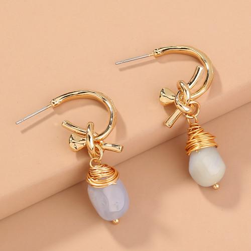 C Type Natural Agate Earrings