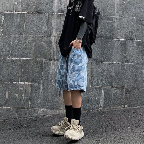 Retro Checked Denim Straight-leg Jeans