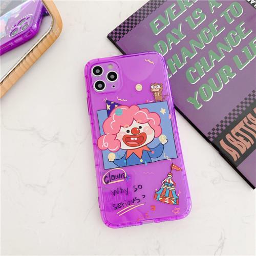 Clown & Elephant Transparent Silicone Phone Case