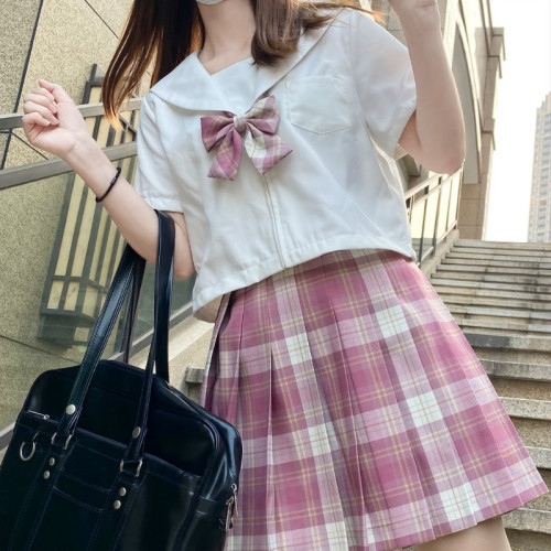 JK Checked Skirt Plus Bow-tie