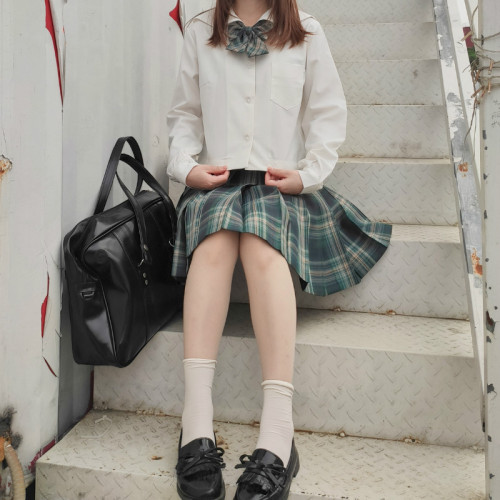 JK Checked Pleated Skirt with Position Line