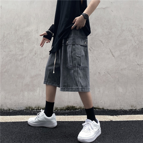 Chic Loose Cargo Denim 1/2 Length Pants