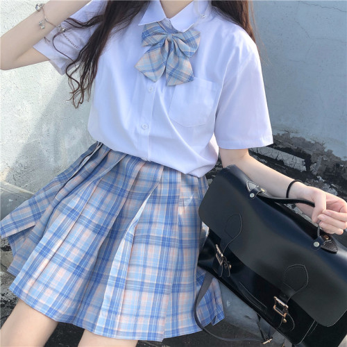 Short Sleeve Shirt Plus Checked Skirt