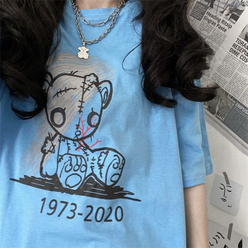Bear Print Loose Couple T-shirt