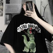 Printed Black Short Sleeve Loose Crew Neck Versatile T-shirt