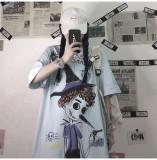 Funny Cartoon Graffiti Print Loose Top Short Sleeve T-shirt