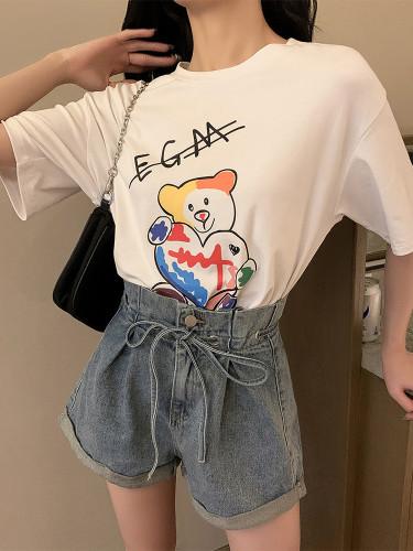 Bear Letter Print Loose and Versatile Short Sleeve T-shirt