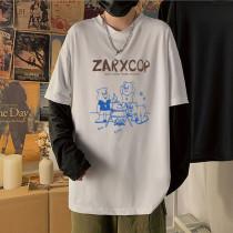 Retro Cartoon Print Long Sleeve Fake Two T-shirt