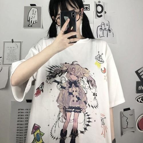 Loose Printed Quarter Sleeves T-shirt