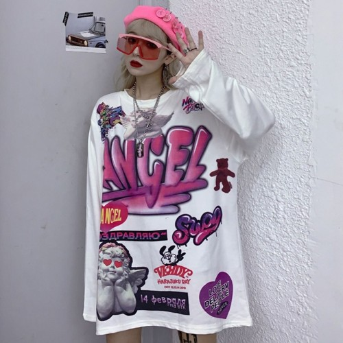 Vintage Top Hip Hop Graffiti Print Loose Sweatshirt