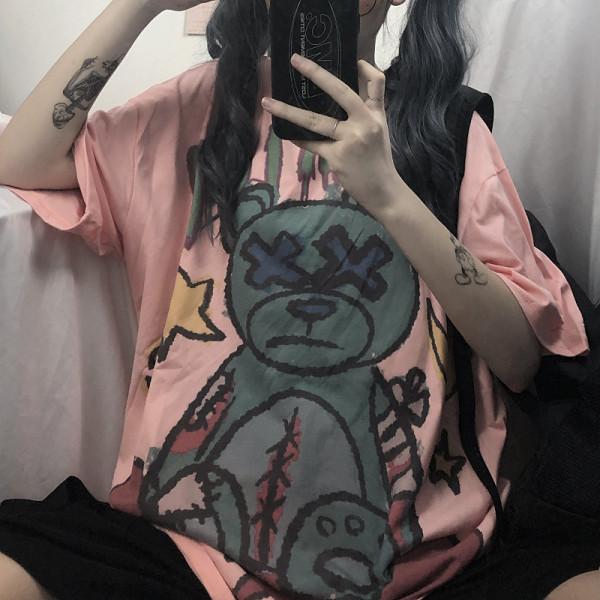 Retro Dark Bear Print Short Loose Sleeve T-shirt