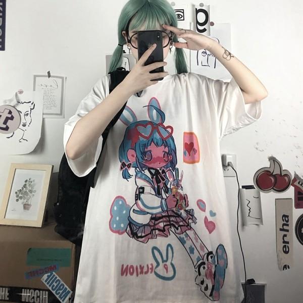 Printed Loose Half Sleeve T-shirt