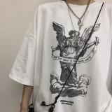 Harajuku Port Style Hip Hop Couple Loose Short Sleeve T-shirt
