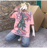 Loose Pink & White Short Sleeve T-Shirt