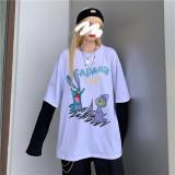 Thin Dark Fake Two Piece Long Sleeve Shirt