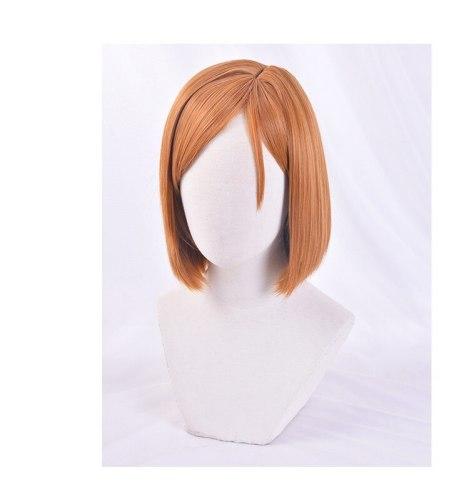 Anime Sorcery Fight Jujutsu Kaisen Kugisaki Nobara Short Cosplay Heat Resistant Synthetic Hair + Free Wig Cap