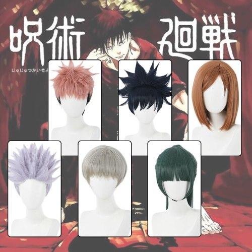 Anime Sorcery Fight Jujutsu Kaisen Yuji Itadori Gojo Satoru Synthetic Hair Cosplay Wigs With Cap