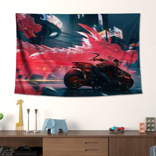 Cyberpunk 2077 Poster Tapestry Canvas Wall Art for Living Room