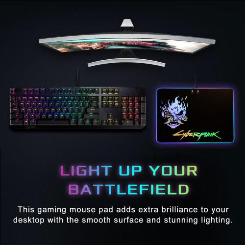 Cyberpunks 2077 Gaming Mouse Pad With RGB LED Atmosphere Light Hard Surface Christmas Gifts