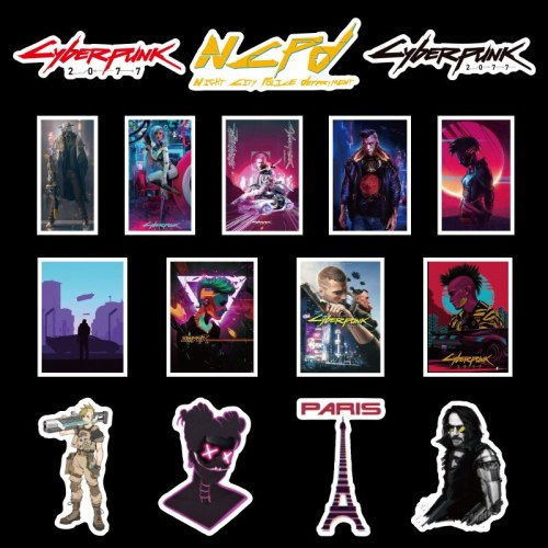 50Pcs Game Cyberpunks 2077 Stickers for Laotop PS5 Stickers for Christmas Gifts