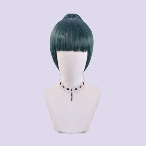 Anime Jujutsu Kaisen Cosplay Wigs Zenin Maki Green Straight Hairs Cosplay Synthetic Ponytail