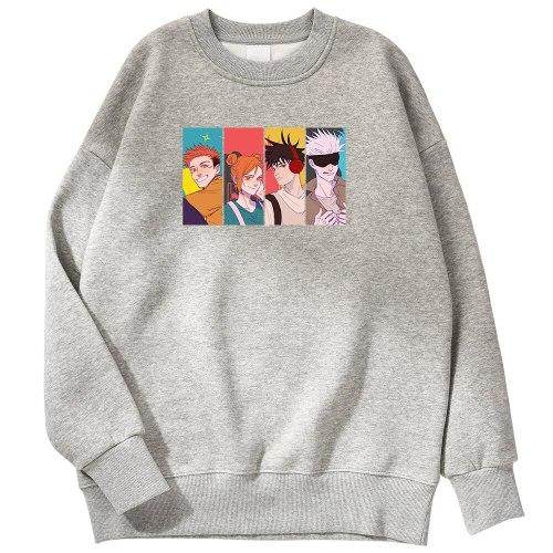 Anime Jujutsu Kaisen Printing Cool Streetwear Fleece Sweatshirts