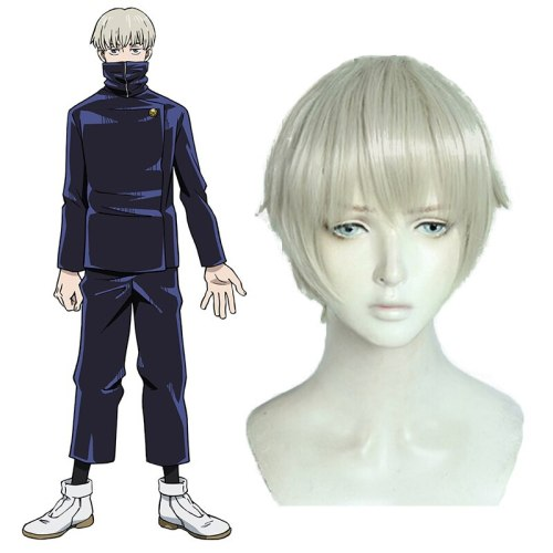 Anime Jujutsu Kaisen Cosplay Synthetic Wigs White Short Straight Hairs Cosplay Accessory