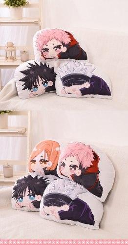 Anime Jujutsu Kaisen Nobara Kugisaki Fushiguro Megumi Yuji Itadori Short Plush Doll Pillow Xmas Gifts