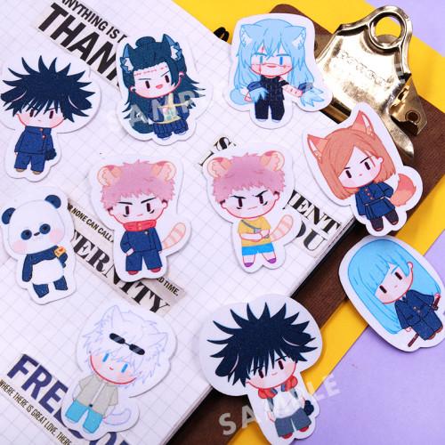 Anime Sorcery Fight Jujutsu Kaisen Cosplay Waterproof Stickers Yuji Itadori Megumi Fushiguro Satoru Gojo Maki Zenin