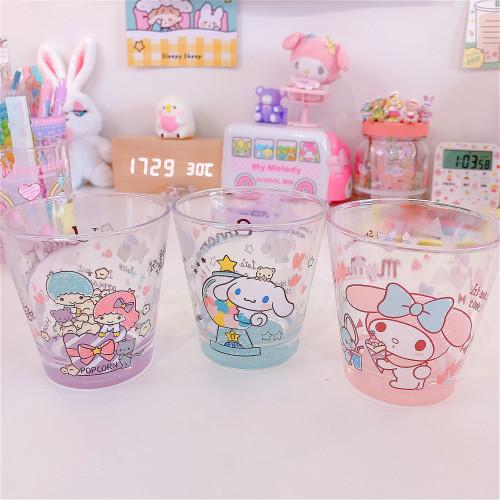 Melody Little Twin Stars Cinnamoroll Transparent Kawaii Glass Mugs Milk Cups