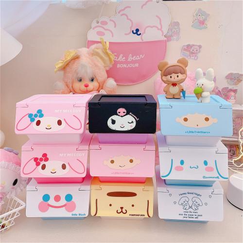 Melody Cinnamoroll Little Twin Stars Cute Girl Desktop Flip Overlay Kawaii Storage Box