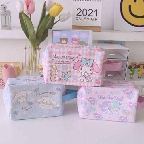 Cute Cartoon My Melody Cinnamoroll Kuromi Little Twin Stars Cosmetic Bag PU Makeup Bags