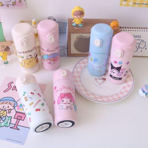 Cute Cartoon My Melody Cinnamoroll Kuromi Little Twin Stars Kawaii 304 Stainless Steel Vacuum Thermos Bottle