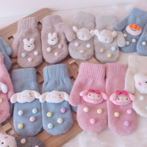 Melody Cinnamoroll Autumn and Winter Warm Kawaii Knitted Fur Gloves
