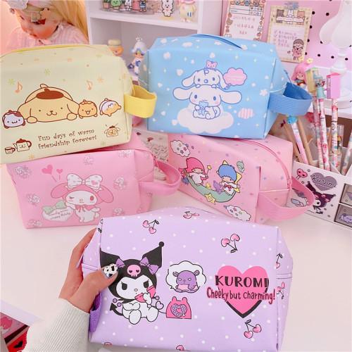 Kawaii Cartoon My Melody Cinnamoroll Kuromi Little Twin Stars Cute Cosmetic Bag PU Makeup Bags