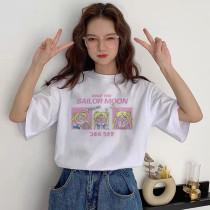 Anime Sailor Moon Kawaii Short Sleeve T-shirt Cotton Crew Neck Top