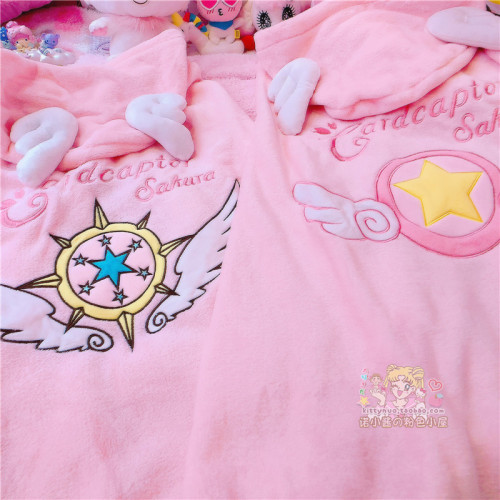 Anime Cardcaptor Sakura Soft Warm Plush Hooded Shawl Blanket
