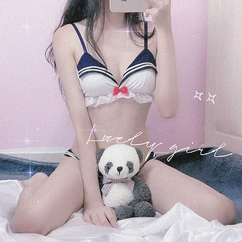 Anime Sailor Moon Cute Girl Navy Style Triangle Cup Wire-free Bra Kawaii Underwear Set
