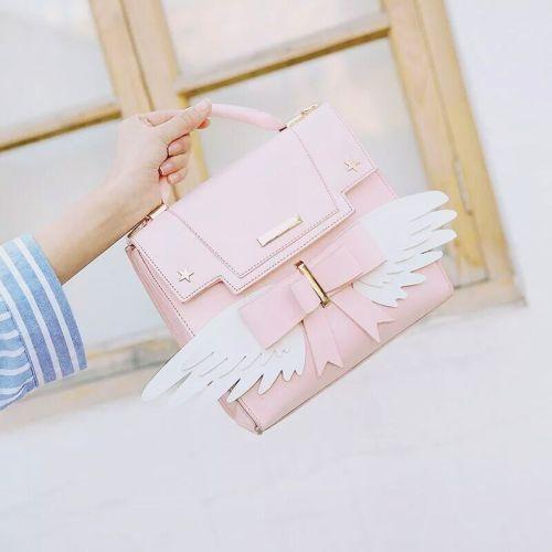 Anime Cardcaptor Sakura Kawaii Handbag Pink Wing Crossbody Bag