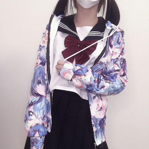 Anime Re: Life in a Different World from Zero Cute Rem Hooded Sweater Soft Girl Coat