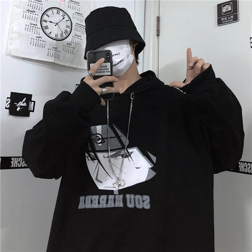 Anime Naruto Print Winter Loose Cool Hoodie with Detachable Chain Couple Coat
