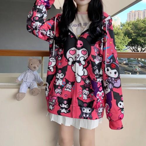 Kawaii Kuromi Cute Girl Zipper Loose Coat