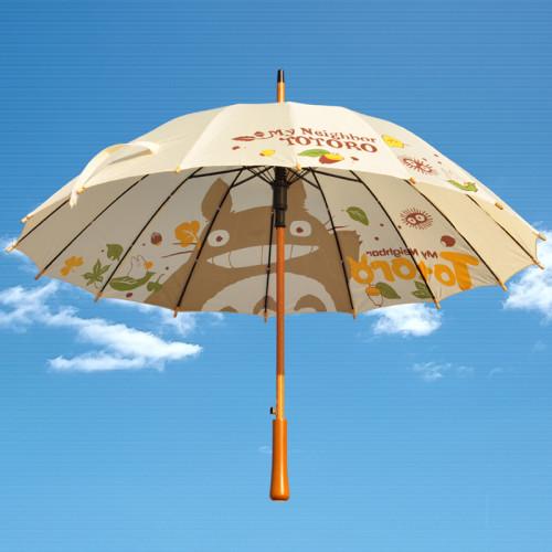 Anime My Neighbor Totoro Cute Automatic Long-handled Wooden Umbrella Windproof