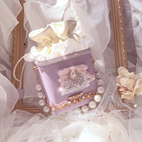 Cute Square Lolita Sweet Lilac Crossbody Bag