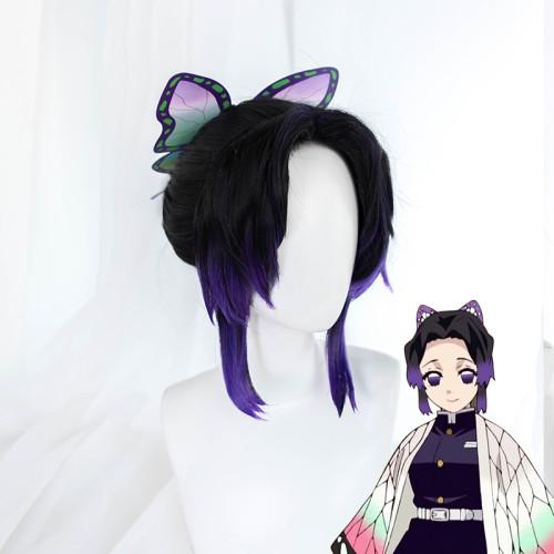 Anime Demon Slayer: Kimetsu No Yaiba Kochou Shinobu Cosplay Wig and Hairbin