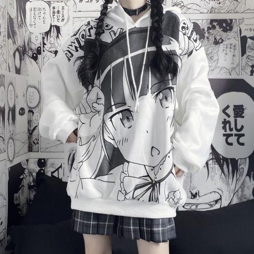Kawaii Anime Girl Pattern Loose Warm Cotton Hoodie