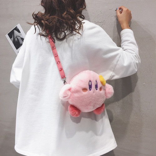 Kawaii Kirby Plush Handbag Lolita Crossbody Bag Sweet Cute Shoulder Bag