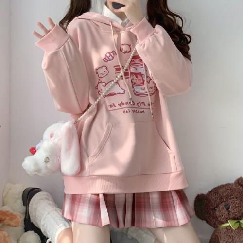 Spring Lolita Style Candy Piglet Kawaii Pink Loose Hoodie